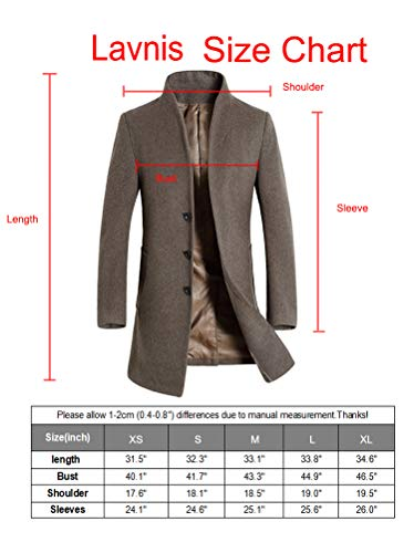 Lavnis Men's Trench Coat Long Wool Blend Slim Fit Jacket Overcoat Size Thicken Style M by Lavnis (Image #6)