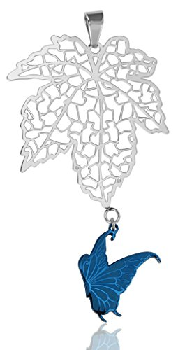 - Women Butterfly Openwork Leaf Stainless Steel Pendant Necklace Blue Aooaz Jewelry