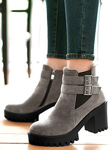 cortos Mujeres grises tacones Up con Zip Casual Toe sintética Round de Easemax Botines Plataforma gamuza PwxqSdS6