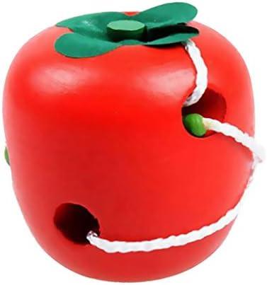 Juguete Infantil Manzana de Madera Cordones Puzzle Actividad Niños: Amazon.es: Juguetes y juegos