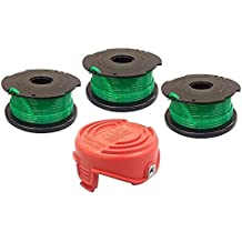 yan_(3) Auto Feed Spools and Replacement Bump Cap for Black & Decker GH3000 Trimmer