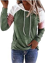 Wirziis Sweatshirts Hoodies for Women, Trendy Color Block Long Sleeve Crewneck Pullover Casual Loose Fit Draws