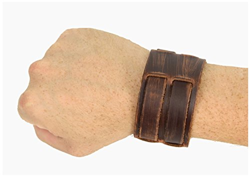 [Distressed Double Strap Leather Wristband Jedi Costume Accessory (Distressed Brown)] (Ewok Star Wars Costume)
