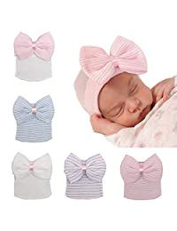Upsmile 6 Pieces Bewborn Baby Hats Infant Turban Head Wrap Floral Head Cap