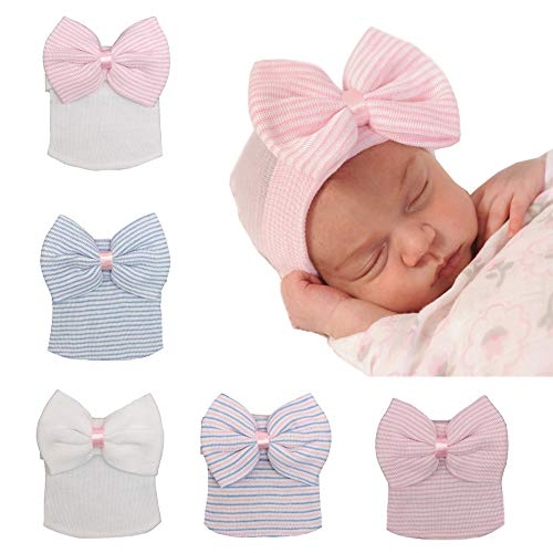 Upsmile 5 Pieces Newborn Baby Hat Cap with Big Bow Decoration Nursery Beanie