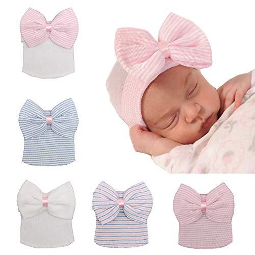 - Upsmile 5 Pieces Newborn Baby Hat Cap with Big Bow Decoration Nursery Beanie