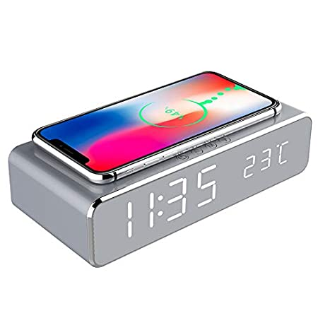 Jiadi Reloj Despertador de Carga inalámbrica, Reloj Despertador Digital portátil 2 en 1 con Cargador y termómetro inalámbricos Qi, diseño Moderno y ...