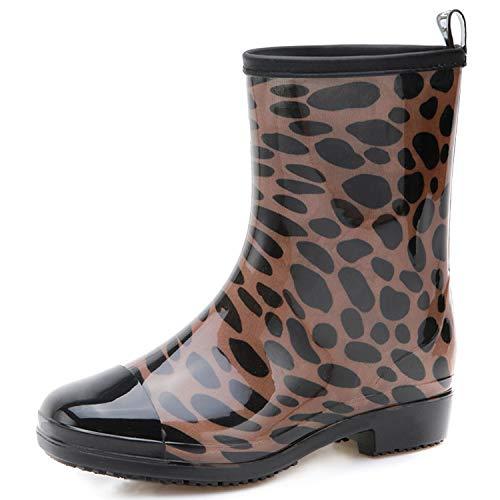 (JOINFREE Womens Waterproof Rain and Garden Boot Lightweight Rubber Shoes Anti-Slip Rain Shoes Leopard 10 M US)
