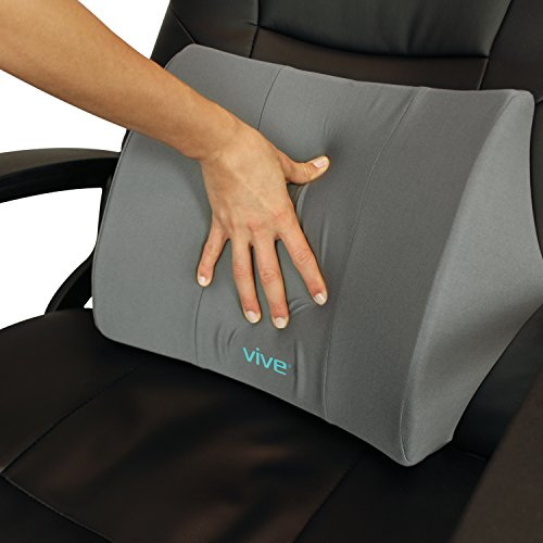 Lumbar Support Pillow by Vive - Lower Back Seat Cushion for Office Chair, Car, Desk, and Computer - Therapeutic Backrest Pad w/ Strap