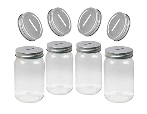 Carca Glass Piggy Deposit Jars Money Savings Bank, for Boys, Girls, Kids, Adults, of Regular Mouth, Smooth Sided Mason Jar with Slotted Lids, for All Ages, Family Fun Pack, 4 Set, 16 & 32 Oz. (Pint)