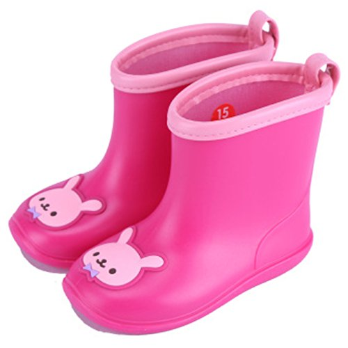 Chadstone Kids Cute Cartoon Rain Boots Toddler Boys Girls Waterproof Anti-skidding Rain Shoes - Rose Red - Chadstone Kids