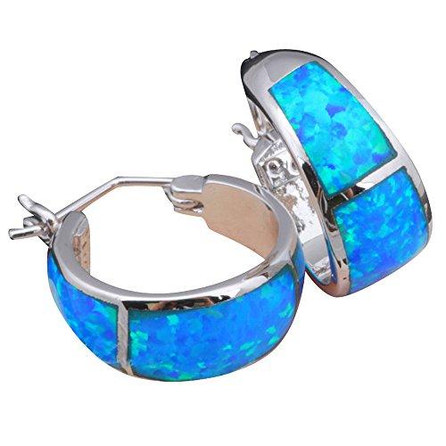 5.5g Blue Fire Opal Silver Stamped Hoop Earrings for women Fashion Jewelry Opal Jewelry OE061