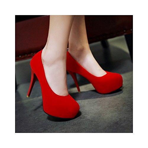12cm Soirée Escarpins 4cm Mariage Aiguille Elégants Rouge Haut Femme Talon Epais Ochenta Club Plateforme UfX4Tf