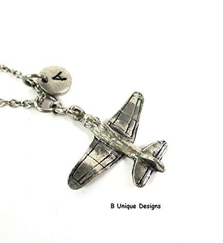 Airplane Fighter Necklace Fly Personalized Initial Add Birthstone Crystal or Your Name Unisex (Swarovski Airplane)