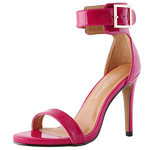 - DailyShoes Women's Stiletto Heels Open Toe Ankle Buckle Strap Platform High Heel Evening Party Dress Casual Sandal Shoes, Fuchsia Patent Leather, 7 B(M) US
