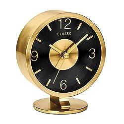 Citizen Decorative brushed gold-tone modern desk clock CC1028