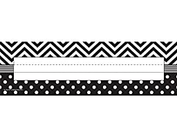 Teacher Created Resources Black and White Chevron and Dots Name Plates