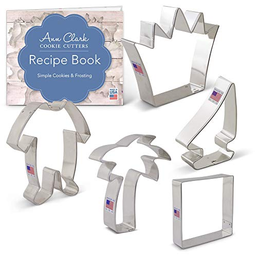 Wild Things Cookie Cutter Set with Recipe Booklet - 5 piece - Crown, Sailboat, Palm Tree, Footie Pajamas, Square - Ann Clark - USA Made Steel