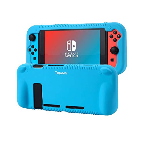 Teyomi Protective Silicone Case Compatible with Nintendo Switch Case with Tempered Glass Screen Protector (Blue)