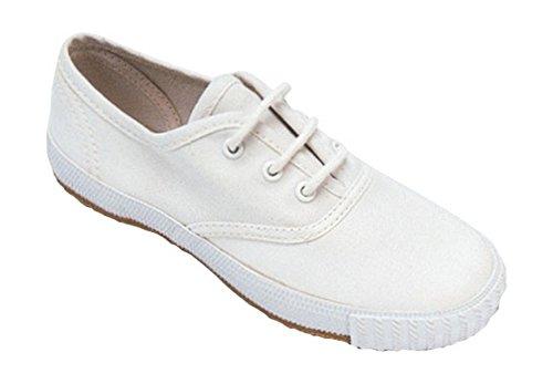 Mirak Lace-Up Textile Lined Plimsolls - White - Size 6 7 8 9 10 11 White