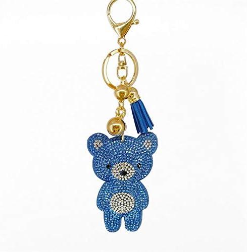 光沢のあるミニクマ象眼ラインストーンキーチェーンおかしいバッグペンダントジュエリー飾りキーリングタッセル装飾新年ギフトキーホルダー