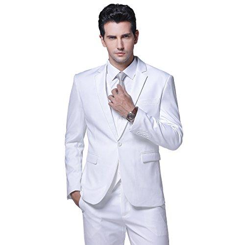Mens One Button Formal 2-piece Suits Tuxedo Multi-color Slim Fit, White, Large