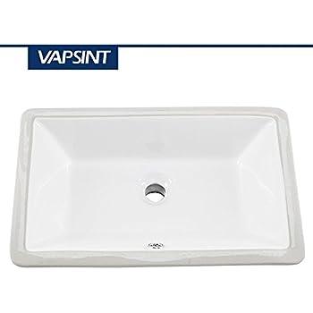 VAPSINT Bathroom Sink, Rectangular Porcelain White Ceramic Vessel Sink