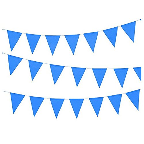 Fun Express - 100 Foot Blue Pennant Banner, Plastic, 48 Pennants Per String