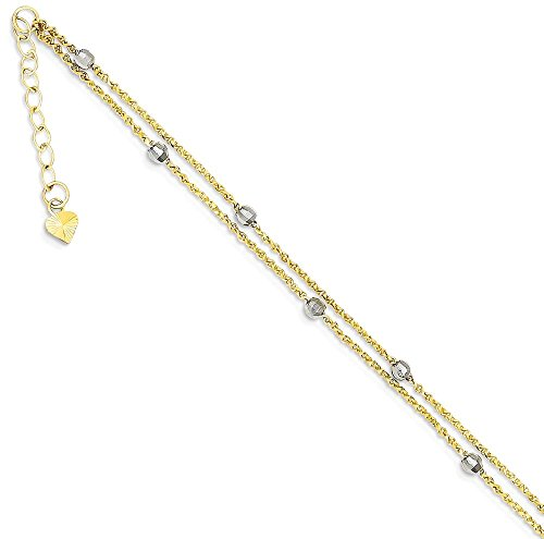 ICE CARATS 14k Two Tone Yellow Gold 2 Stand Spiga Mirror Beads 1 Inch Adjustable Chain Plus Size Extender Anklet Ankle Beach Bracelet Fine Jewelry Gift Set For Women Heart by ICE CARATS