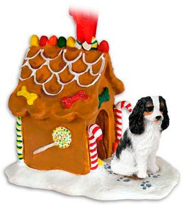 CAVALIER KING CHARLES SPANIEL Dog Tri-Colored NEW Resin GINGERBREAD HOUSE Christmas Ornament 80B