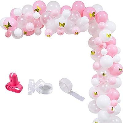Amazon.com: Juego de 100 globos de mariposa de oro blanco y ...