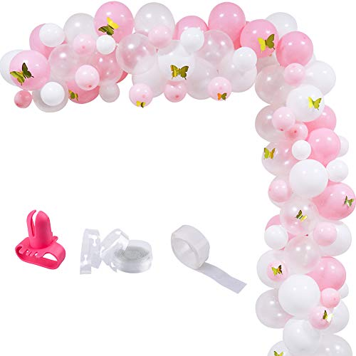 Butterfly Decorations For Party (100pcs Pink White Gold Butterfly Balloons Arch Garland Kit, 12