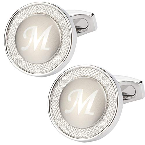 GWD Cufflinks for Men Shirt Premium Quality Personalized Initials Alphabet A-Z Gift Box (Silver ()