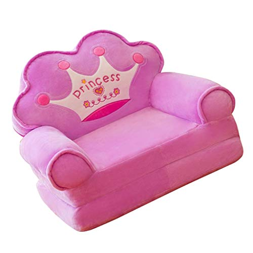 (Flameer Princess Crown Armchair Cover Cute Cartoon Washable Children Fold Sofa Chairs Seat Cover Upholstered Living Room Furniture - Purple)