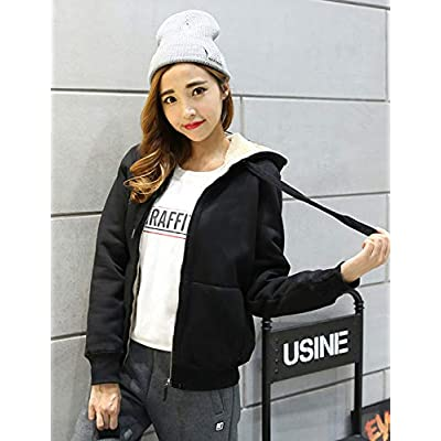 Yeokou Women's Casual Winter Warm Sherpa Lined Zip Up Hooded Sweatshirt Jacket Coat at Women's Coats Shop