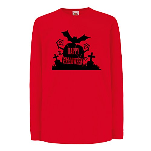 T-shirt for kids Halloween Graveyard Outifts - Costume Ideas - Cool Horror Design (12-13 years Red Multi Color)