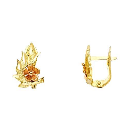 Solid 14k Yellow Gold Flower & Leaf Huggie Earrings U Shape Floral Design Diamond Cut Genuine 15 mm ()