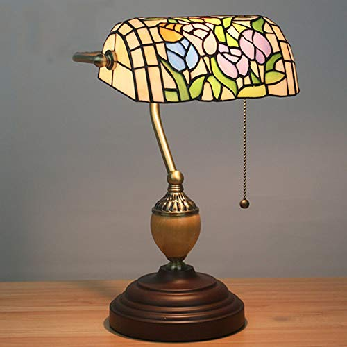 HYH Tiffany Style Retro Nostalgic Table Lamp Straight Into The Power Supply Bedroom Study Cafe Bar Two Tulips Blue Lattice Table Lamp A Beautiful Life (Color : Green)