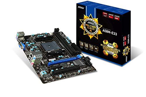Price comparison product image MSI A58M-E33 M-ATX Motherboard,  FM2+ Socket,  AMD A58 Chipset,  DDR3 Memory,  PCI-E Gen3 (1x16),  Gigabit LAN,  VGA,  HDMI,  DirectX 11,  RAID Support (Renewed)