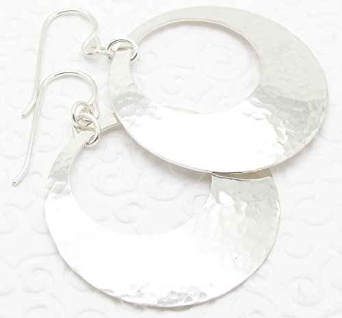 Large Disc Earrings (Medium Large Silver Disc Earrings with Peephole)