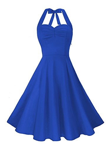 Anni Coco Women's Halter Polka Dots 1950s Vintage Swing Tea Dress - (Halter Sundress Dress)