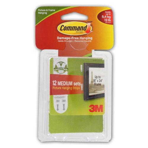 3M Command Medium Picture Hanging Strips, White, 12 lb. Capa