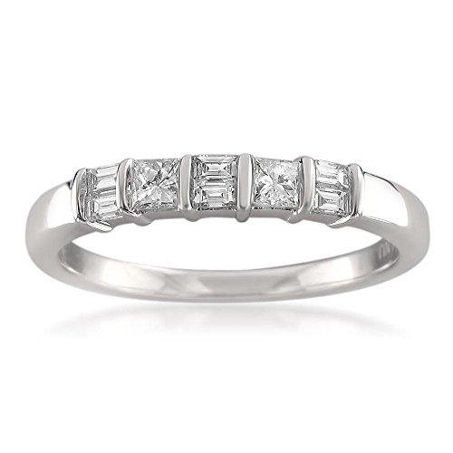 14k White Gold Baguette & Princess-cut Diamond Bridal Wedding Band Ring (3/8 cttw, I-J, I1-I2), Size - Baguette Princess Wedding Diamond Band