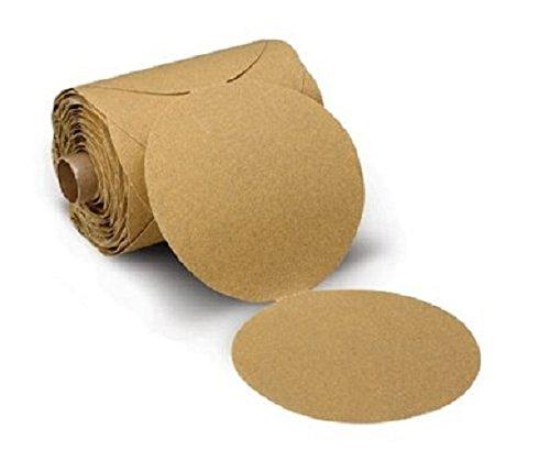 3M(TM) Stikit(TM) Paper Disc Roll 236U, C-weight, Pressure-Sensitive Adhesive (PSA) Attachment, Aluminum Oxide, 5' Diameter, P400 Grit, Gold (Pack of 1) 5 Diameter
