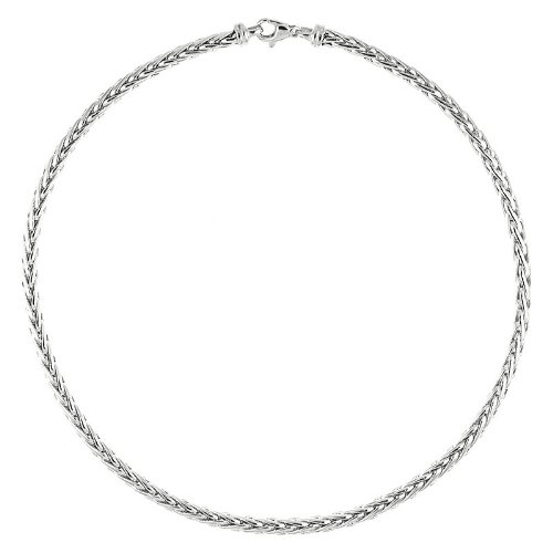 Blé blanc 14 carats 4,8 mm-poli Bracelet chaîne JewelryWeb