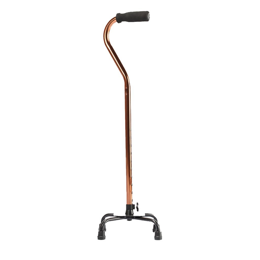 NUBAO Elderly Cane Four-Legged Cane Aluminum Crutches Big Four-Legged Walking Stick Telescopic Cane Elderly Walker Walking Aid Medical Instruments   Bronze