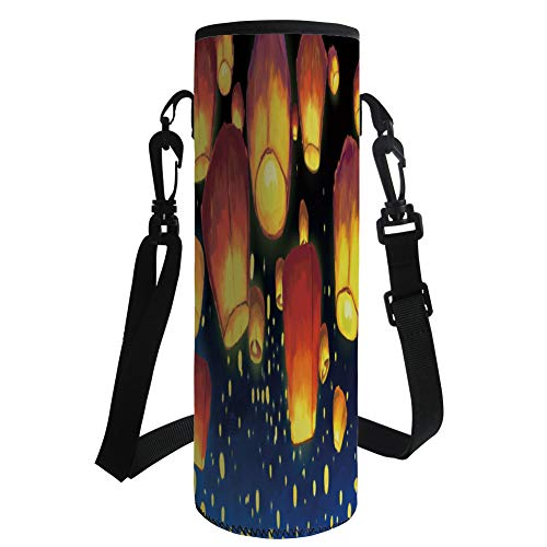 iPrint Water Bottle Sleeve Neoprene Bottle Cover,Lantern,Floating Fanoos Like Devices on Sky Festive Auspicious Asian Culture Chinese Decorative,Dark Blue Orange,Fit for Most of Water Bottles by iPrint