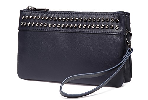 Wristlet Clutch Purses,VASCHY SAC Large Studs Soft Faux Leather Crossbody Evening Clutch Wallet for Women Navy ()