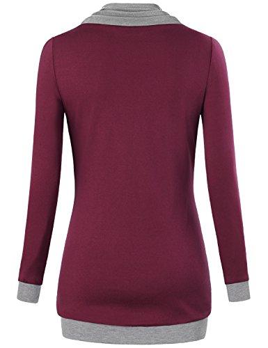 Tunic tops for leggings for women,Miusey Women's Long Sleeve Cowl Neck Pullover Sweatshirt with Kangaroo Pocket Wine Large