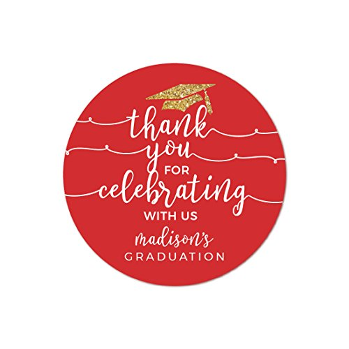 Andaz Press Red and Gold Glittering Graduation Party Collection, Personalized Round Circle Label Stickers, Thank You for Celebrating With Us, 40-Pack, Madison's Graduation Custom Name